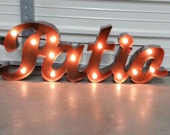 Patio Marquee sign, metal patio sign. summer signs- backyard signs- patio sign.lighted patio sign. patio. farmhouse decor.