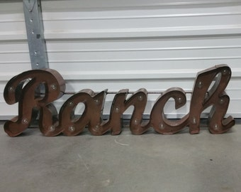 lighted ranch sign - metal ranch sign - ranch marquee sign - ranch decor - ranch art