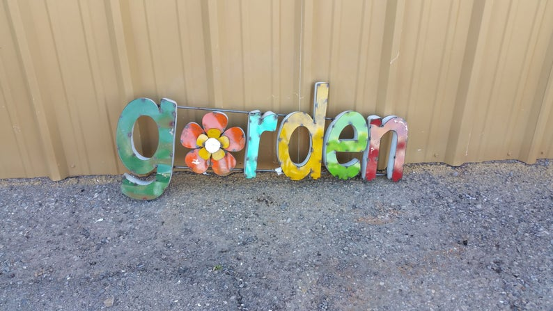Gartenmetall Outdoor Küche : Garten metall dekor garten metalle zeichen bunte zeichen etsy