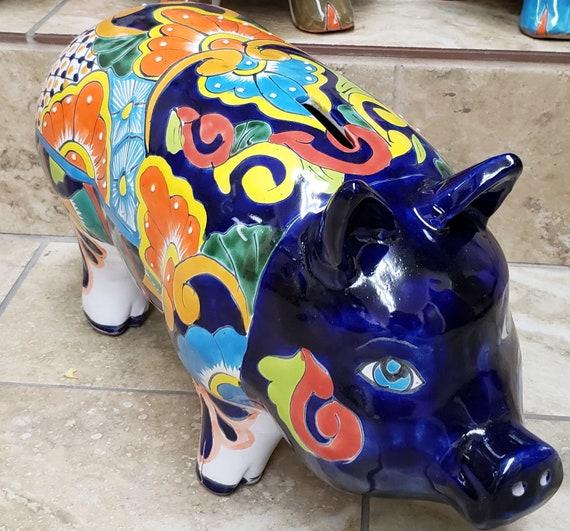 Cool Handpainted Ceramic Pig Ceramic Pig Talavera Pig Colorful Pig Ceramic Pig Decor Pig Decor Large Pig Decor Pig Art Large Talavera Pig Machost Co Dining Chair Design Ideas Machostcouk