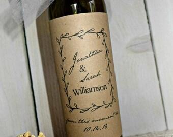Wedding Wine Label, Printable Wine Label, Wine Bottle Label, Custom Wine Label, Rustic Wine Labels, Kraft Wine Label, Rustic Wedding