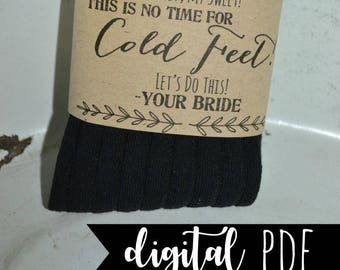 Cold Feet Socks, Cold Feet Label, Groom Sock Label, Groom Cold Feet, Cold Feet Socks Label, SOCKS NOT INCLUDED! Instant Download - pdf
