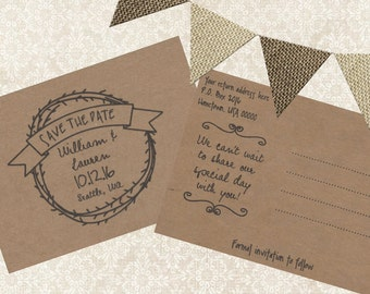 Kraft Save the Date Postcards - 25, 5 x 7