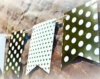 Gold Polka Dot Banner, Wedding Bunting, Paper Garland, Wedding, Bridal Shower, Baby Shower, Home Decor