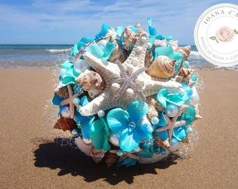 Beach wedding bouquet, Sea shells bridal brooch bouquet, Turquoise bridal brooch bouquet