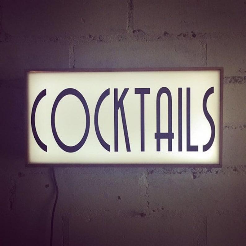 Cocktails Lightbox, Cool Bar sign, Light up Bar Sign, Cocktails Sign