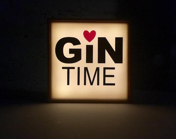 Gin Time Light Box, Light up Gin sign, bar sign, light up bar sign