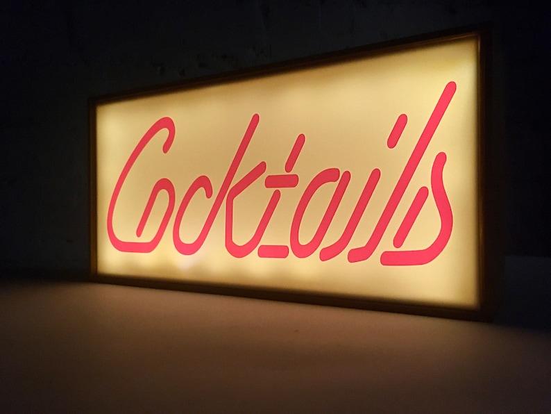 Cocktails Light Box light up bar sign light up cocktails