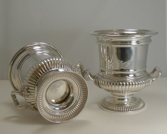 Pair Large Silver Plated Wine Quality. Champagne Bottle Coasters