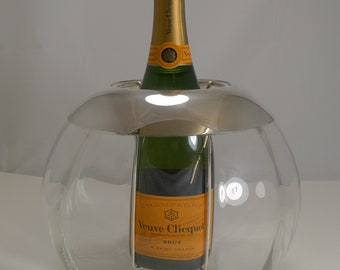 Vintage Spherical Glass and Silver Plate Champagne Cooler by St. Hilaire, Paris