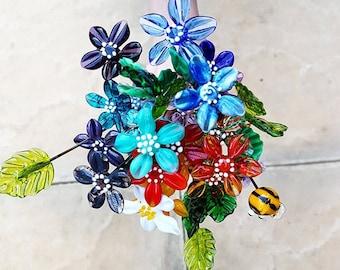 Individual Flower Stems - Glass Flowers - Flower Bouquet - Garden Gifts - Garden Whimsical - Handmade Glass Flowers - Flower Stems - Daisy
