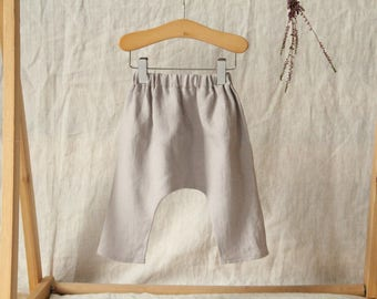 Handmade grey linen harem trousers. Handmade baby harem pants. Washed linen trousers. Linen toddler trousers. Handmade toddler trousers.