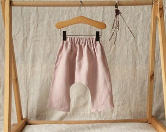 Handmade baby harem pants. Dusky pink washed linen harem trousers. Handmade baby trousers. Toddler harem pants. Baby girl clothing.