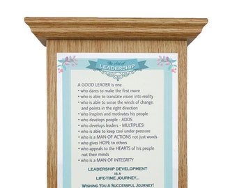 Graceland light oak finish roman wood plaque with bible verses, baptism, engagement, wedding, housewarming, boss, leader