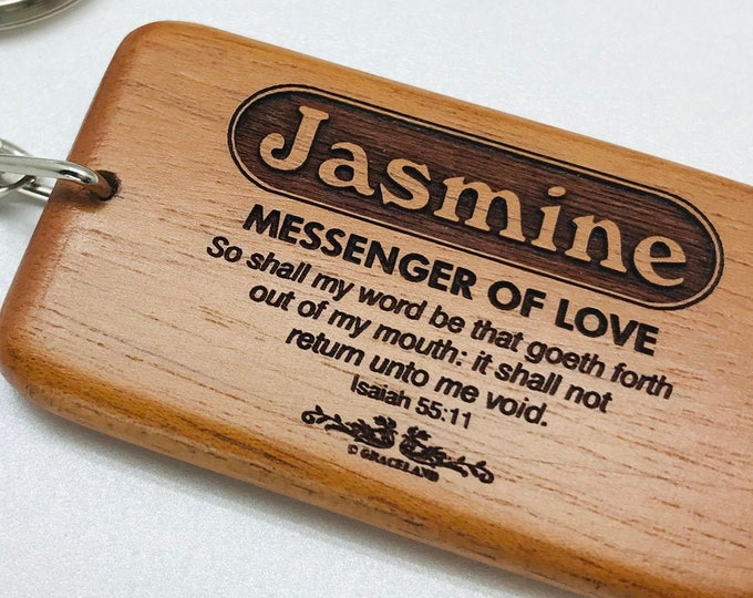 Bestsellers 1E (Jason-Larry) | Graceland Name Scripture Wooden Keychain - STANDARD NAME