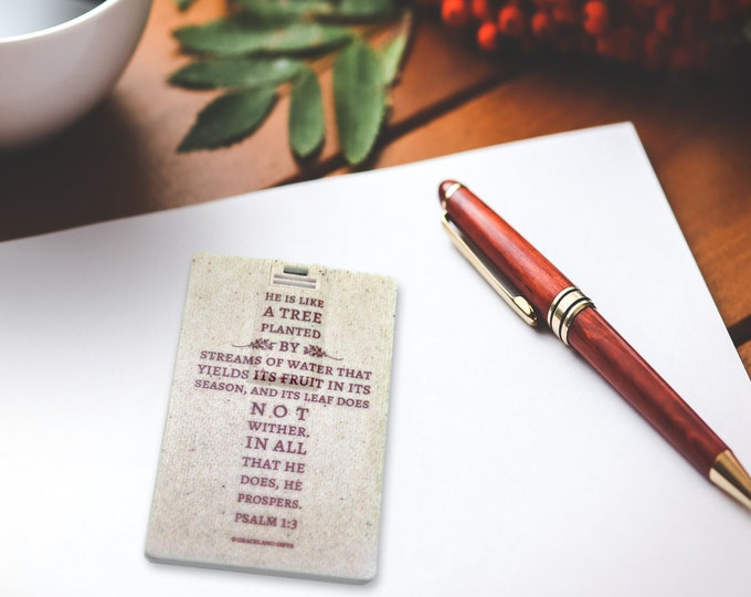 Psalm 1:3 Bible Verse - Slim 8GB USB Flash Drive, Credit Card sized for Wallet, for Daddy Father Husband Son Pastor