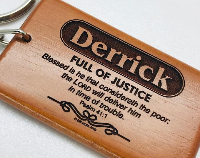 Bestsellers 1C (D-Faith) | Graceland Name Scripture Wooden Keychain - STANDARD NAME