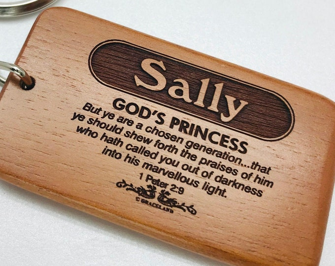 Bestsellers 1H (Sally-Tracey) | Graceland Name Scripture Wooden Keychain - STANDARD NAME