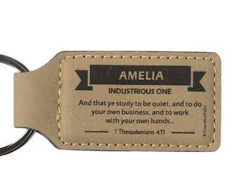 Names A-E | Leather Christian Name Keyring / Keychain With Bible Verse / Scripture | High Quality Craft, Elegant | GracelandGifts