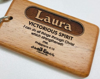 Names Laura-Micah | BESTSELLING! Christian Name Keychain / Keyring With Bible Verse / Scripture & Meaning Of Name | GracelandGifts