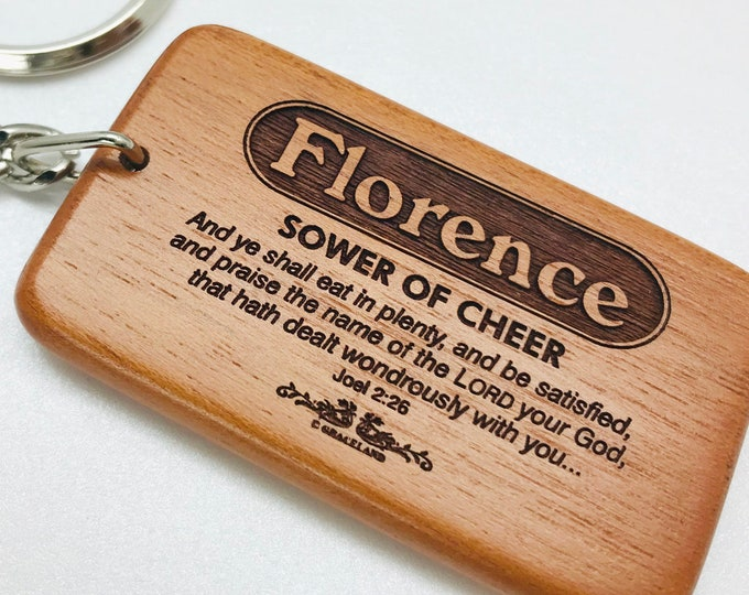Bestsellers 1D (Fanny-Jasmine) | Graceland Name Scripture Wooden Keychain - STANDARD NAME