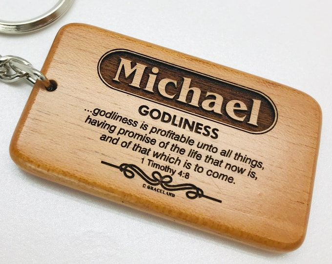 Bestsellers 1G (Michael-Sabrina) | Graceland Name Scripture Wooden Keychain - STANDARD NAME