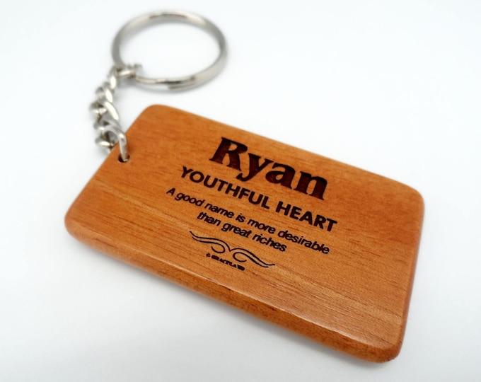 GRACELAND | Name Personalized Wooden Keychain - Customized Name Design