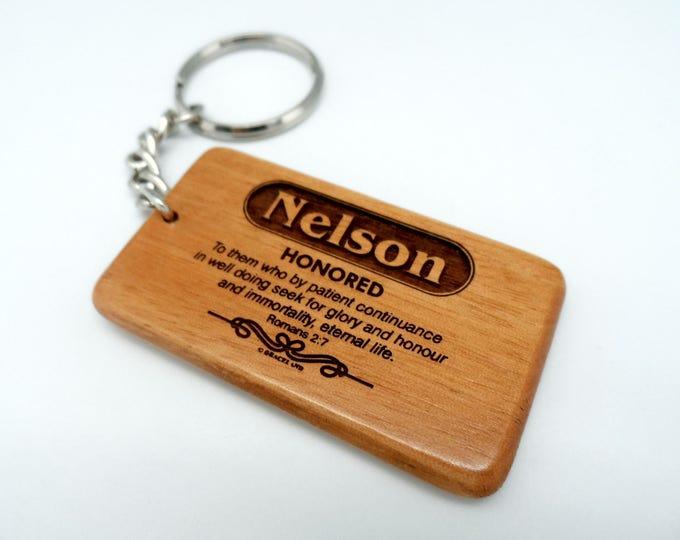 Customized Keyring | GRACELAND Name Personalized Wooden Keychain -  Scripture Design