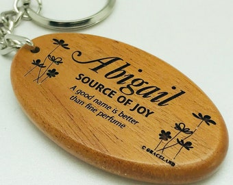 Oval Name A (A-Daryl) | GRACELAND Name Personalized Oval Wooden Keychain