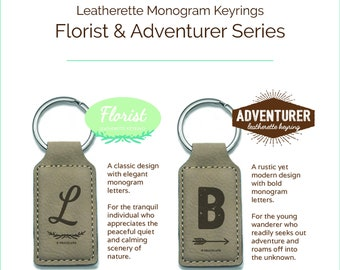 LMKR Leatherette Gifts | Adventurer, Florist Monogram Keychain, high quality craft, convenient, elegant