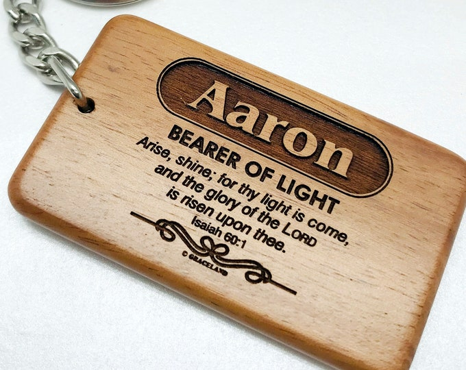 Bestsellers 1A (A-Bobby) | Graceland Name Scripture Wooden Keychain - STANDARD NAME