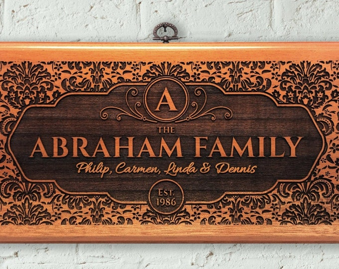 Personalized Family Name Sign Wood, Engraved House sign, Housewarming gift, Wall hanging,
