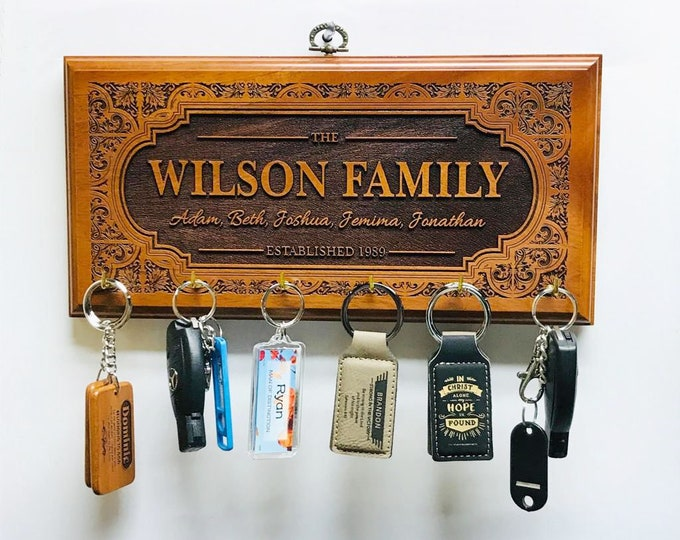 NEW! Personalized Family Name Sign Wood with keyholders, Engraved House sign, Housewarming gift, Wall hanging,
