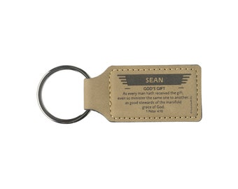 Names M-Y | Leather Christian Name Keyring / Keychain With Bible Verse / Scripture | High Quality Craft, Elegant | GracelandGifts
