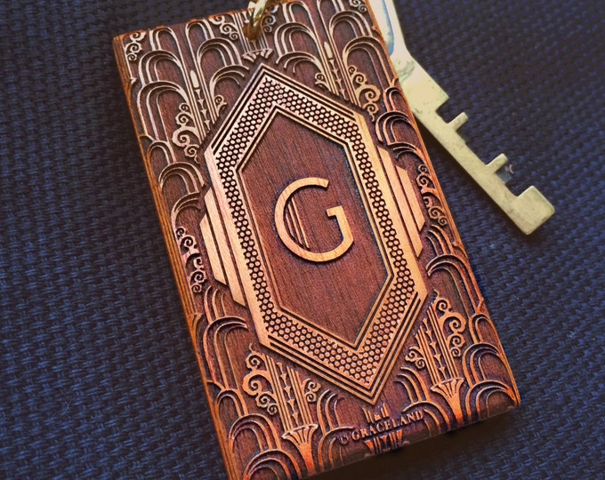 Featured listing image: Art Deco Monogram Keyring | Unique Engraved Wooden Keychain with Vintage Design | GracelandGifts