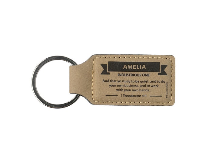 Leather Christian Name Keyring / Keychain With Bible Verse / Scripture   High quality craft, Convenient, Elegant   Names A-E