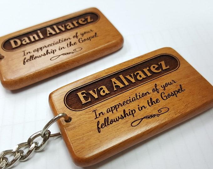 Customized Unique Name Keychain - Graceland Wooden Name Keyring, baptism, birthday, house warming, wedding