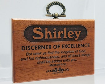 Names Sally-Tracey | Mahogany Wood Christian Name Plaque With Bible Verse / Scripture - STANDARD NAME | GracelandGifts
