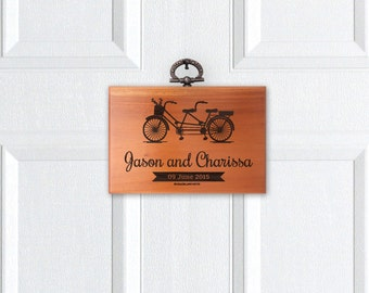 Tandem Bicycle Couple Door Hanger, Mini Couple sign, Anniversary gift, Wedding Date gift