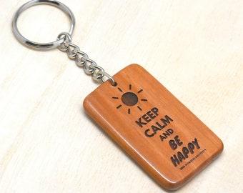 Rectangular Solid Mahogany Wood Keychain / Keyring with Keep Calm Motivational Sayings | GracelandGifts