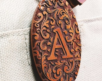 Initial Engraved Wooden Keychain, Unique Victorian Engraved Keyring