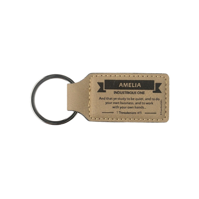 Names A-E  Leather Christian Name Keyring / Keychain With image 1