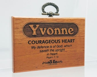 Names V-Z   Mahogany Wood Christian Name Plaque With Bible Verse / Scripture - STANDARD NAME   GracelandGifts