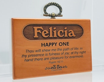 Names Fanny-Jasmine   Mahogany Wood Christian Name Plaque With Bible Verse / Scripture - STANDARD NAME   GracelandGifts