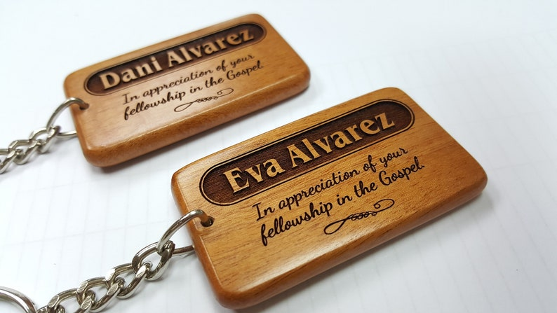 Customised Unique Name Keychain / Solid Mahogany Wooden Name image 0