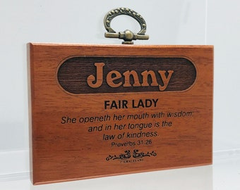 Names Jason-Larry   Mahogany Wood Christian Name Plaque With Bible Verse / Scripture - STANDARD NAME   GracelandGifts