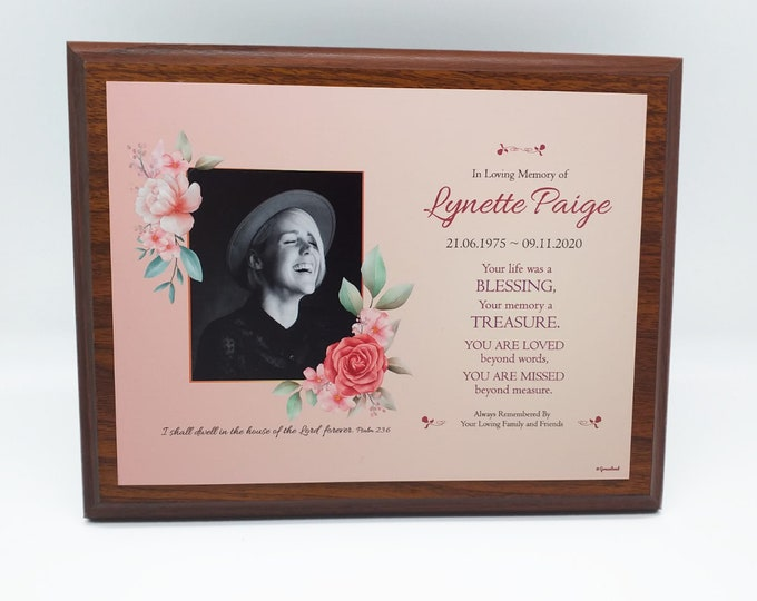 Featured listing image: NEW! | Graceland teak finish wood memorial plaque for enduring memories of your loved ones