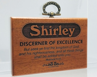 Names Sally-Tracey   Mahogany Wood Christian Name Plaque With Bible Verse / Scripture - STANDARD NAME   GracelandGifts