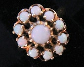 Estate 14K Solid Gold Ring Natural Opals Vintage Round Cabochons Over 1 Carat Total Weight Size 8 October Birthstone Mother's Day