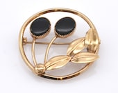 14K Solid Yellow Gold Natural Onyx Brooch Flowers Floral Oval Cabochons Vintage Estate Pin 2 Carats Total Weight Over 4 Grams Christmas Gift